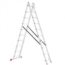 Драбина алюмінієва 2-х секційна універсальна розкладна 2x10 ступ. 4,81 м INTERTOOL LT-0210