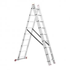 Драбина алюмінієва 3-х секційна універсальна розкладна 3х8 сход. 5.09м INTERTOOL LT-0308