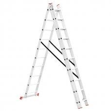 Драбина алюмінієва 3-х секційна універсальна розкладна 3x10 ступ. 6,77 м INTERTOOL LT-0310