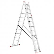 Драбина алюмінієва 3-х секційна універсальна розкладна 3x11 сход. 7,33 м INTERTOOL LT-0311