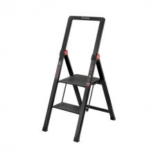 """Стрем'янка алюмінієва """"Black Slim"""", 2 сходинки, висота верхньої сходинки 456мм, 150 кг, STORM INTERTOOL LT-5002"""