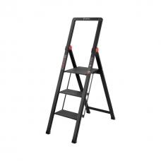 """Стрем'янка алюмінієва """"Black Slim"""", 3 сходинки, висота верхньої сходинки 684 мм, 150 кг, STORM INTERTOOL LT-5003"""