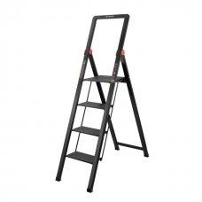 """Стрем'янка алюмінієва """"Black Slim"""", 4 сходинки, висота верхньої сходинки 912 мм, 150 кг, STORM INTERTOOL LT-5004"""